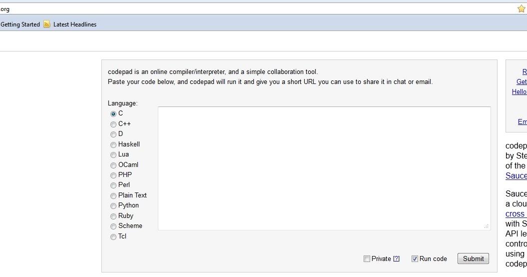 Online Program Compiler/Interpreter -- codepad org | Renante Era's Blog