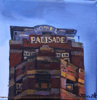 plein air oil painting of heritage Palisade Hotel Millers Point by industrial heritage artist Jane Bennett