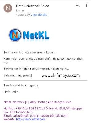 Renew Domain, Blog Akif Imtiyaz, NetKL