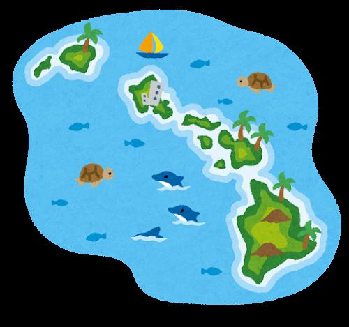 ハワイ諸島のイラスト