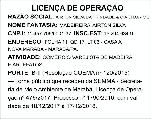 LICENÇA DE OPERAÇÃO - MADEIREIRA AIRTON SILVA -- MARABÁ/PA