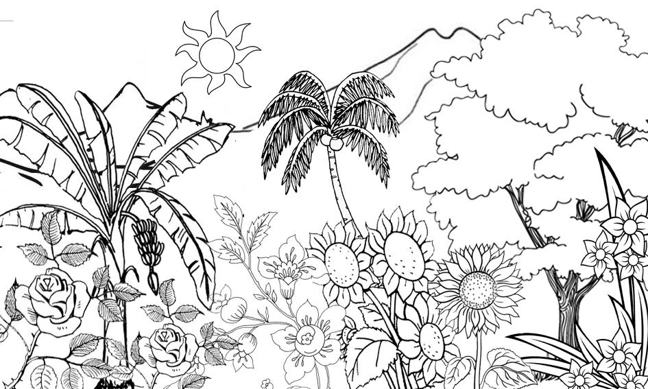 Pesona Alam Desa Pacewetan Sketsa Taman Bunga Dan Pemandangan Alam