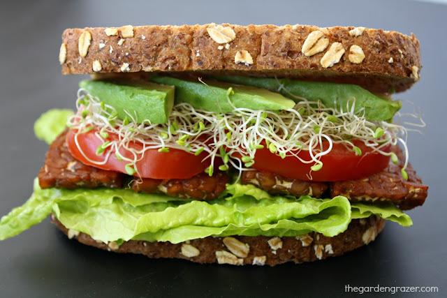 The Garden Grazer: Vegan TLT Sandwich (Tempeh Lettuce Tomato)