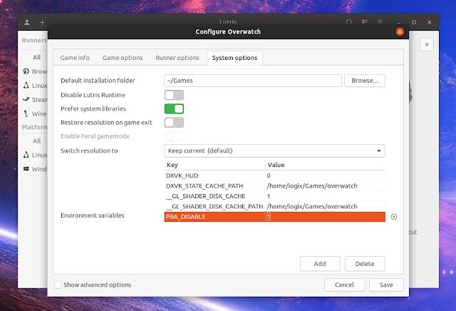 Lutris setting environment variables