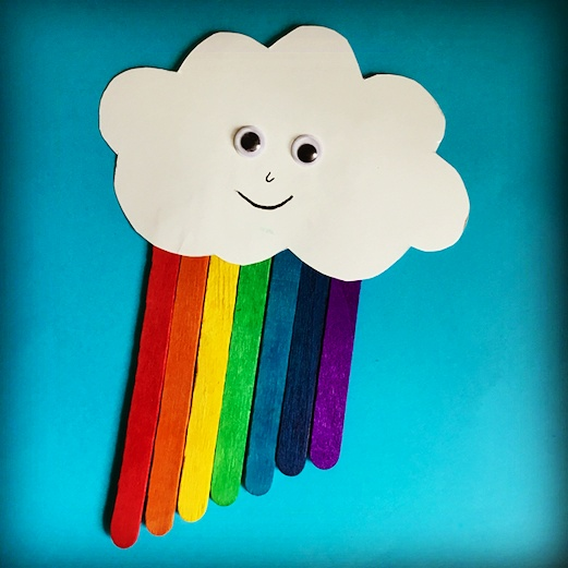 Craft for kids, kids Craft, Craft Stick Craft, Wood Stick Craft, Easy Craft, Fun Craft, summer activity, preschool activity, kindergarten project, toddler craft, toddler fun, cloud, rainbow, teaching colors