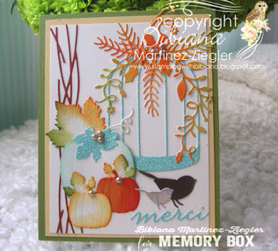 Fall bird cage card front