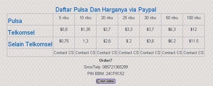 Cara Membeli Pulsa Online Dengan Paypal