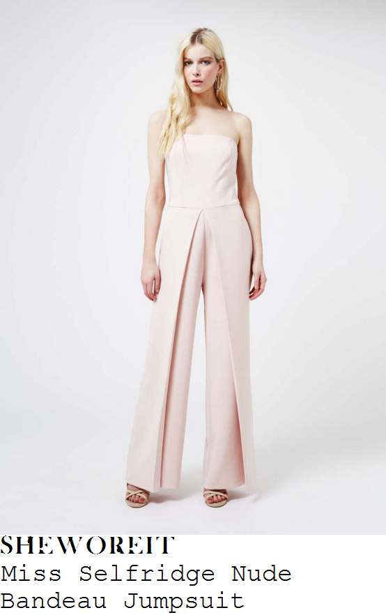 ferne-mccann-miss-selfridge-nude-pink-strapless-bandeau-wide-leg-jumpsuit