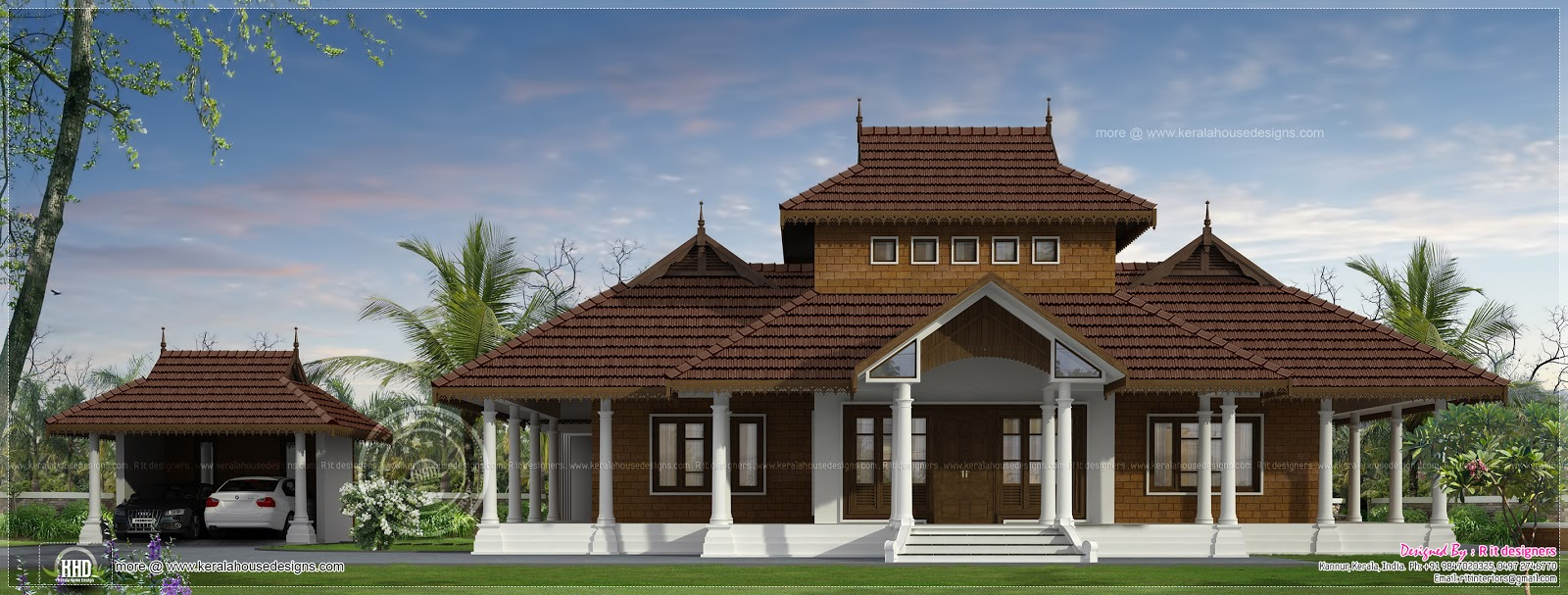 Traditional kerala villa exterior in 3070 sq ft home for Kerala traditional home plans with photos