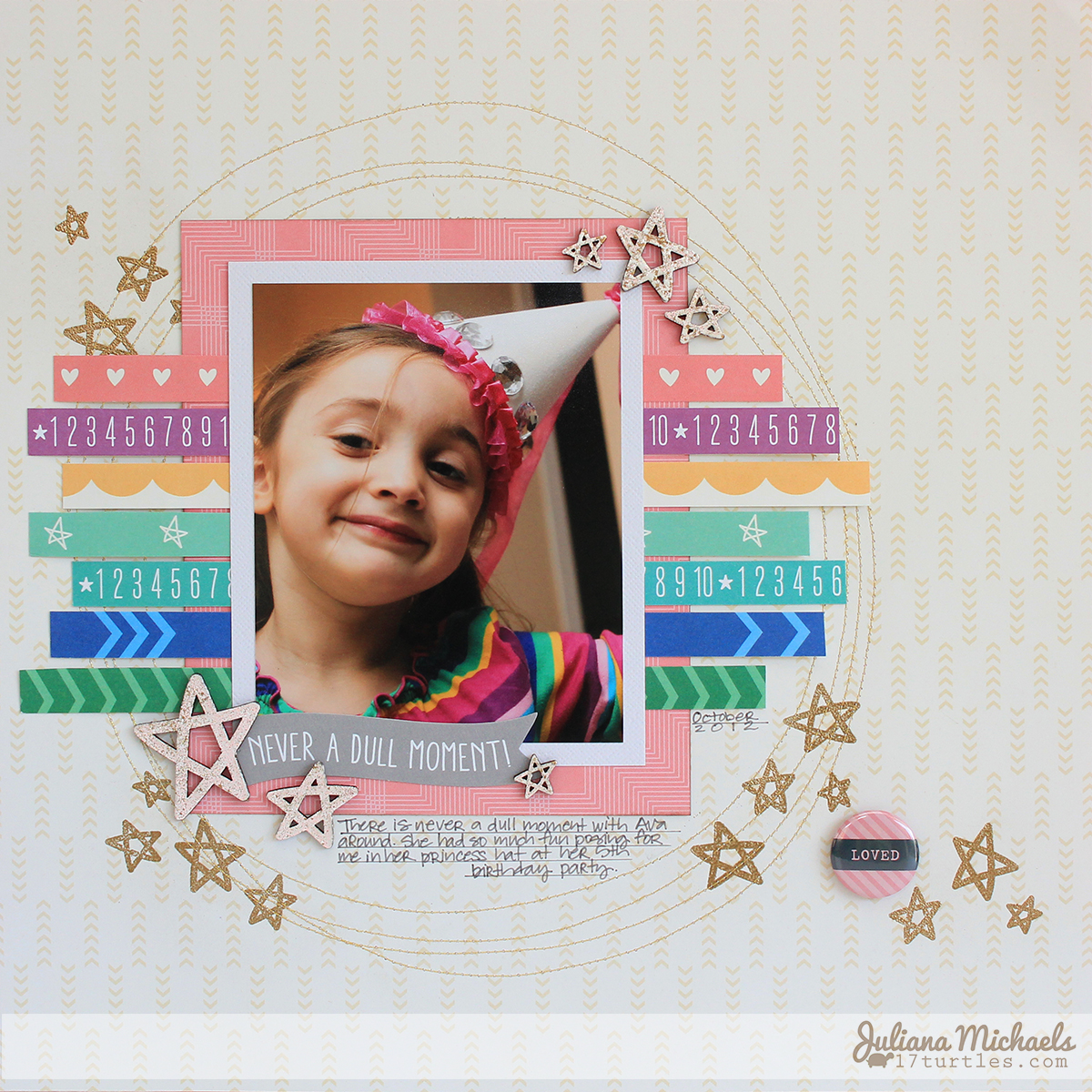 Never A Dully Moment Scrapbook Page Juliana Michaels for Elle's Studio #ellesstudio #julianamichaels #scrapbookpage