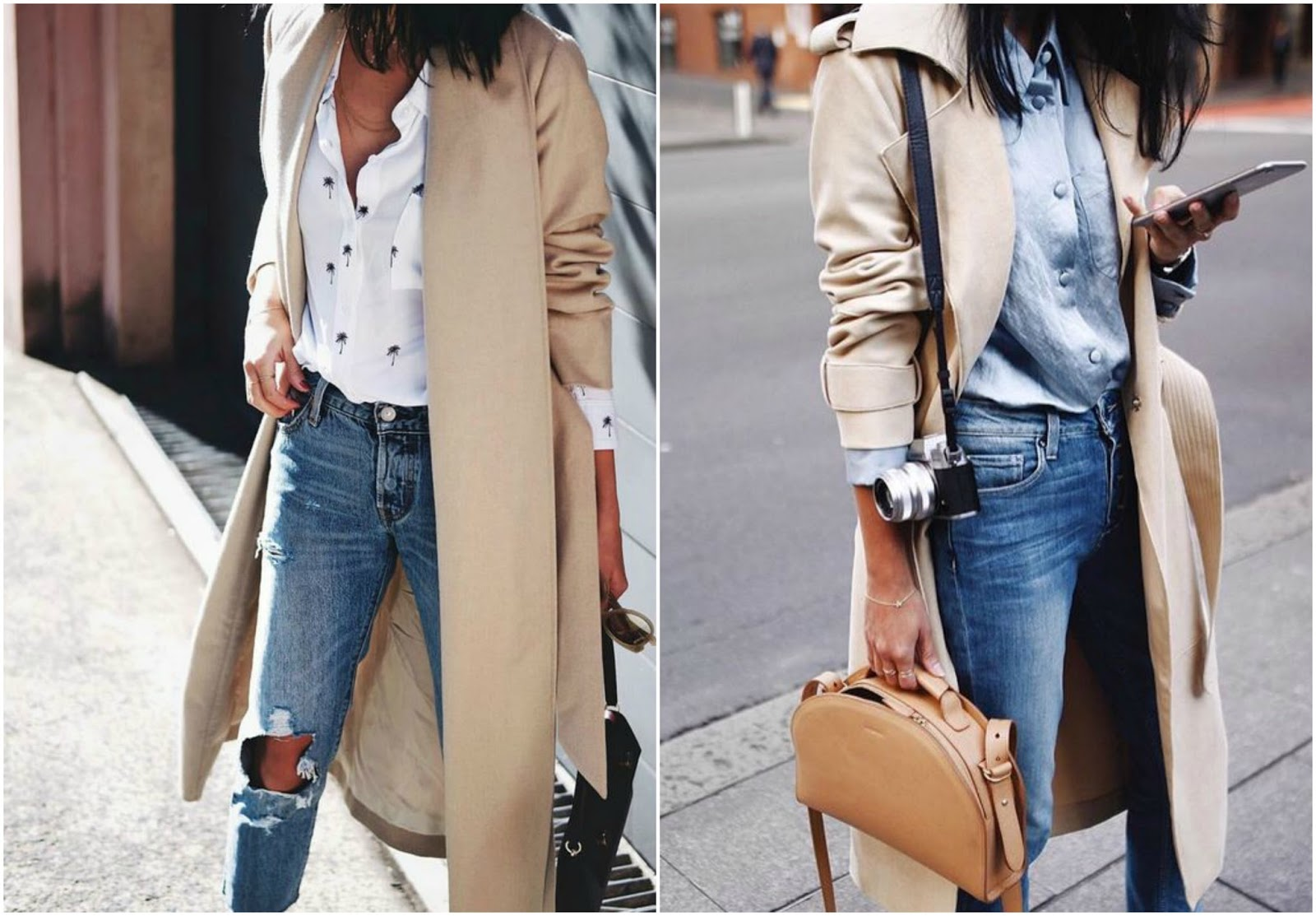 how to style a trench coat casual look relaxed distressed denim plain t-shirt blouse flats