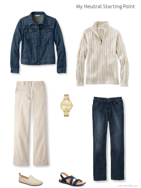 A travel capsule wardrobe neutral core in denim and beige