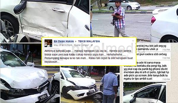 pemandu uber, gambar kereta uber, pemandu uber dilanggar