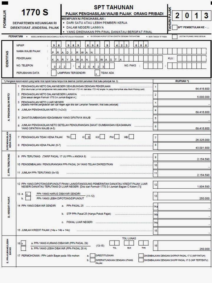 Formulir Spt Tahunan Pph Orang Pribadi 1770 S Tahun 2013 Excel