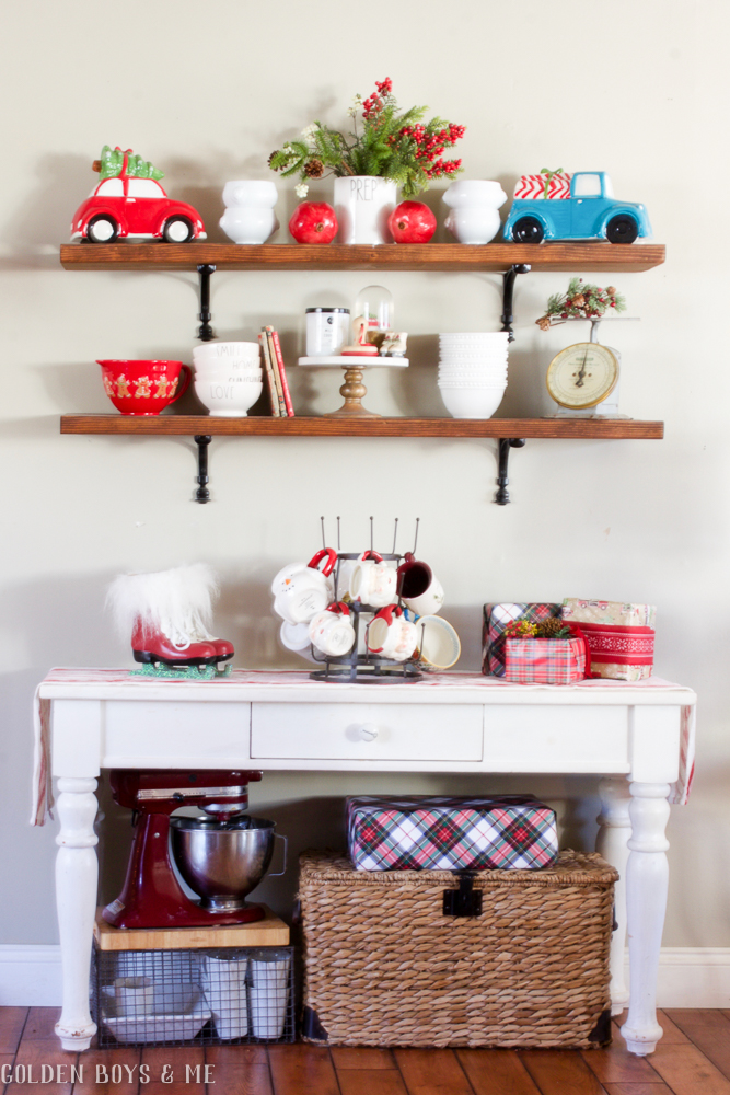DIY wood shelves with classic red holiday decor - Golden Boys and Me Holiday Home Tour 2017