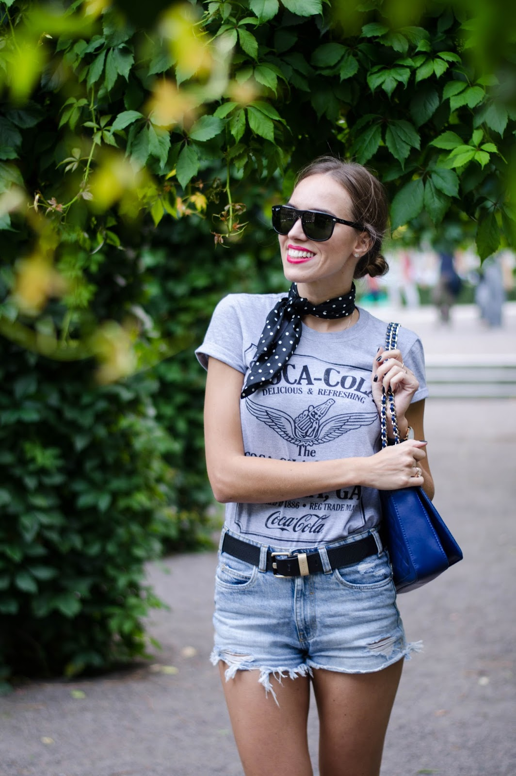 vintage band tee neck scarf summer outfit