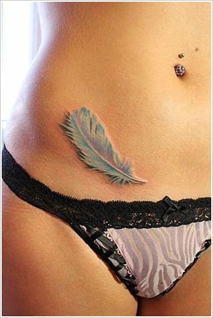 Feather Stomach Tattoo
