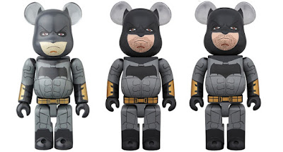 Justice League Movie Batman 100%, 400% & 1,000% Be@rbrick Vinyl Figures by Medicom Toy