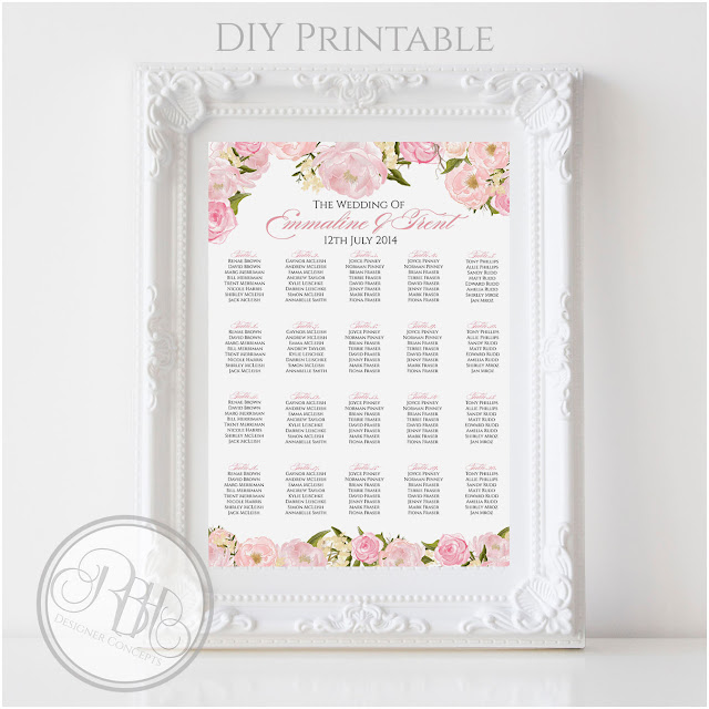 Dusty Pink Peonies, Roses, Wedding, Seating Chart, Plan, template
