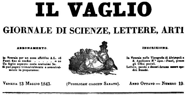 IL VAGLIO Journal der Wissenschaften, Literaturen , Künste 13. Mai 1843