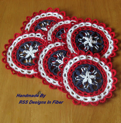 Americana Red White and Blue Star Coasters - Handmade By Ruth Sandra Sperling of RSS Designs In Fiber
