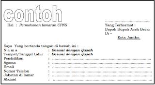 Surat lamaran CPNS Pemkab Aceh Besar 2018