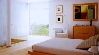 Desain kamar tidur dengan kasur di lantai