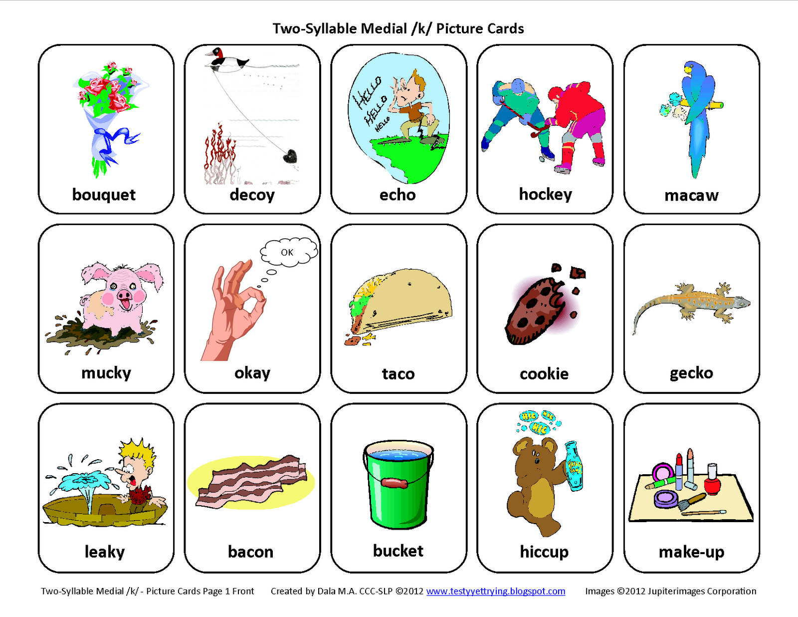 Testy Yet Trying Medial K Free Speech Therapy Articulation Picture Cards