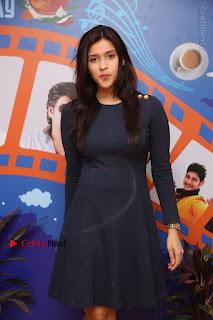 Actress Mannara Chopra Stills in Blue Short Dress at Rogue Song Launch at Radio City 91.1 FM  0024.jpg