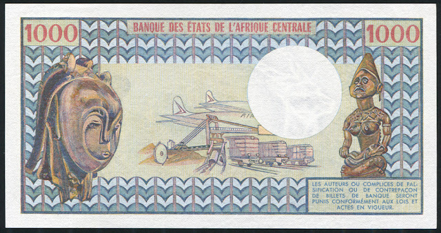 African money currency CFA franc 1000 francs banknote