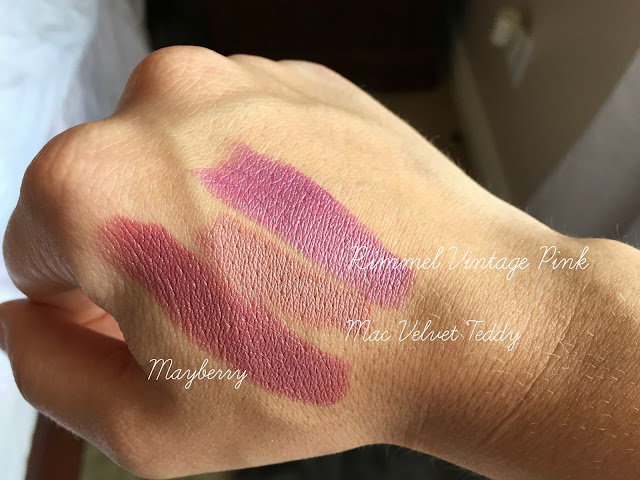 Red Apple Lipstick Mayberry, MAC, Velvet Teddy, Vintage Pink, Rimmel