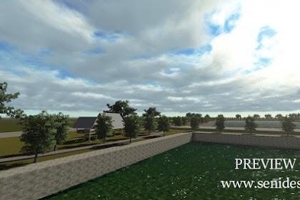 Jasa desain gambar kolam luas taman asri bendungan waduk nuansa alami