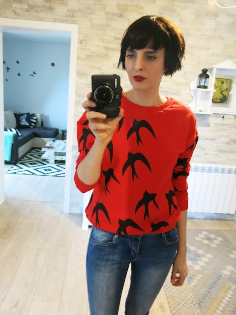 Czerwona bluza w jaskółki od SheIn ♥