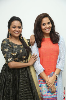 Actress Suma in Black Salwar Suit and Anusuya in orange Dress at winner movie press meet part 1 February 2017 (43).JPG