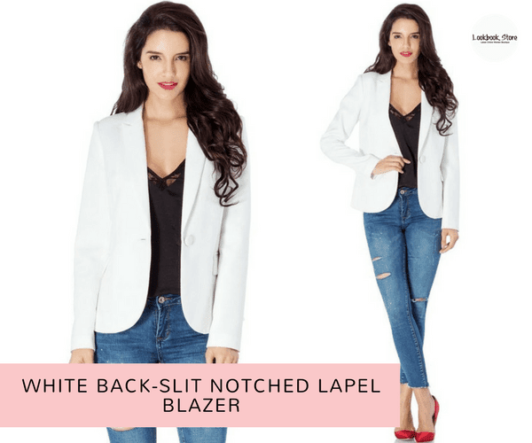 White Back-Slit Notched Lapel Blazer | Lookbook Store