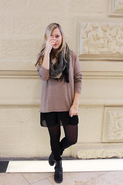 Strick Kleines Schwarzes Kleid ootd Mode Blog Fashionblogger Layering Lagen Look