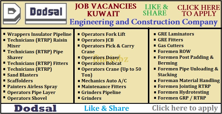 Gulf Jobs Consultant: Urgent Requirement for Kuwait in Dodsal