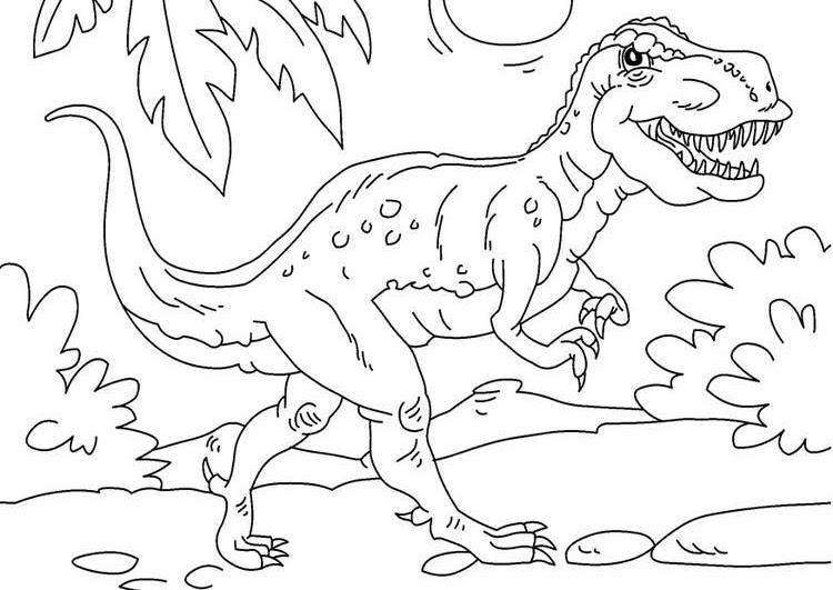 Tranh tô màu khủng long ăn thịt đi dạo trong rừng