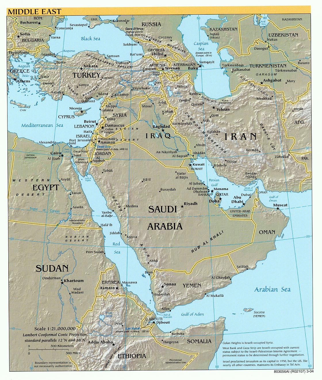 Kaart topografie landen Midden-Oosten: Kaart landen Midden ...