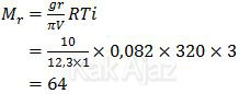 Penentuan massa molekul relatif (Mr) dari AB2