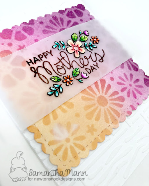 Happy Mother's Day Card by Samantha Mann, Newton's Nook Designs, distress inks, handmade cards, #inkblending #mothersday #newtonsnook #stencil #embossingpaste
