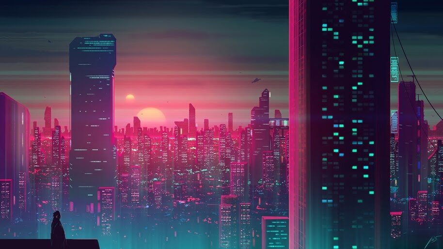 Sunset, City, Sci-Fi, Illustration, Digital Art, 8K, #4.2006