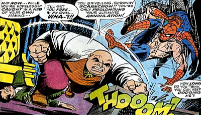 Amazing Spider-Man #69, john romita, Jim mooney, with the topless spider-man tangled up in his own webbing, the kingpin charges forward and throws a punch at him