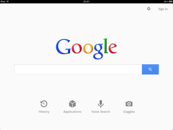 Updated Google Search App for iPad