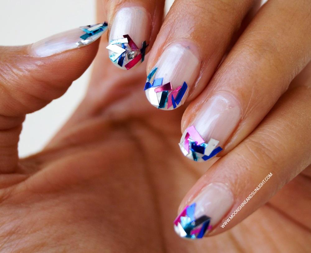 Indian Nail art Blog, Glam , funky french nail tutorial , nail art usuing DIY Tinsel glitter