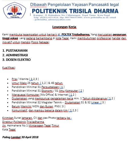 Lowongan Dosen Elektro, Administrasi Politeknik Trisila Dharma Tegal