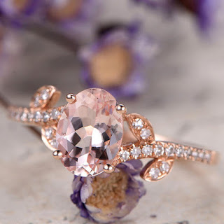 6x8mm Oval Pink Morganite engagement ring and diamond,Solid 14k Rose gold promise ring for her,half eternity leaves stylr anniversary ring,wedding