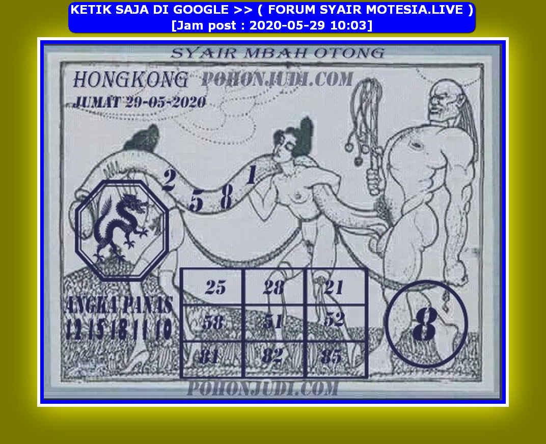 Kode syair Hongkong Jumat 29 Mei 2020 68