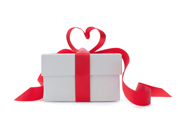 Gift with heart shaped box