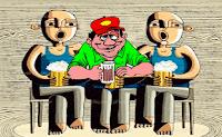 Estaba un borrachito en una cantina, sentado entre dos hombres grandes y muy fuertes... (de muy pocas pulgas) entonces el borrachito le pide al cantinero: